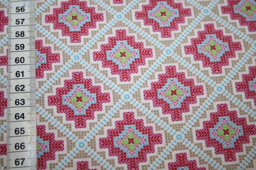 renee-d.de Onlineshop: A spark of Happiness Baumwollstoff Rauten Muster beige pink
