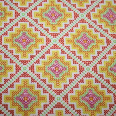 renee-d.de Onlineshop: A spark of Happiness Baumwollstoff Rauten Muster gelb orange