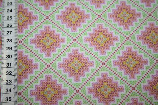 renee-d.de Onlineshop: A spark of Happiness Baumwollstoff Rauten Muster grün pink