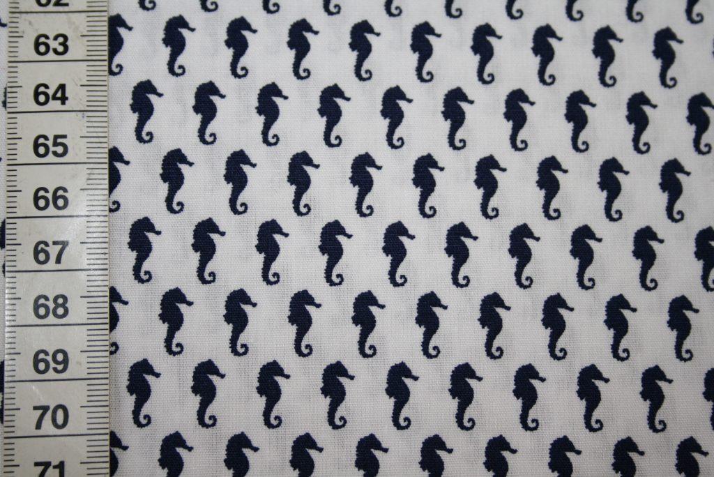 renee-d.de Onlineshop: Baumwollstoff Mini Seepferdchen blau weiß
