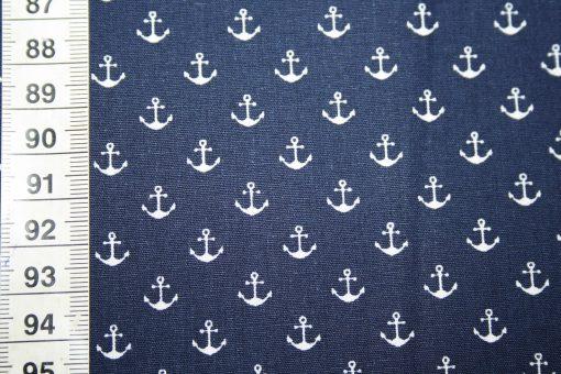 renee-d.de Onlineshop: Baumwollstoff Mini Anker blau