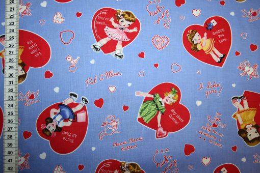 renee-d.de Onlineshop: Baumwollstoff Retro blau Herzen Mädchen