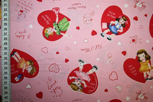 renee-d.de Onlineshop: Baumwollstoff Retro rosa Herzen Mädchen
