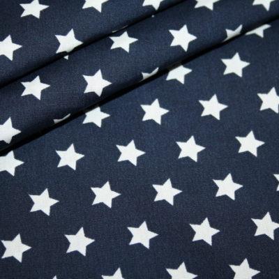 renee-d.de Onlineshop: Baumwollstoff dunkelblau Sterne weiß