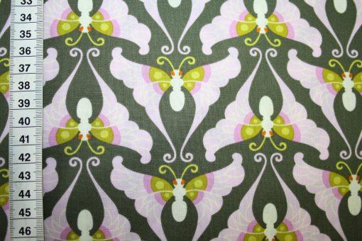 renee-d.de Onlineshop: Baumwollstoff lila taupe Schmetterlinge