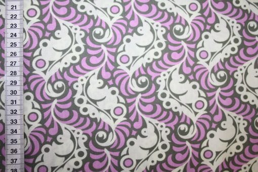 renee-d.de Onlineshop: Baumwollstoff lila taupe kleine Muster