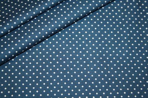 renee-d.de Baumwoll Stoff jeansblau mit weißen Punkten