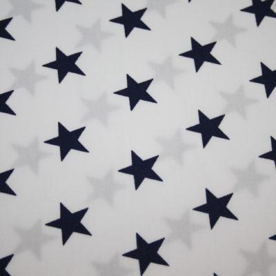 renee-d.de Onlineshop: Baumwollstoff weiß große Sterne blau