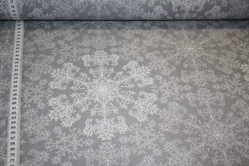 renee-d.de Onlineshop: Beschichtete Baumwolle grau glitzer Schneeflocken