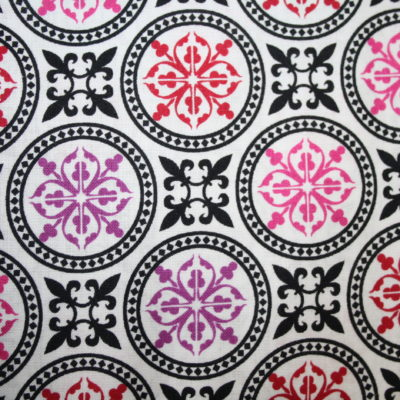 renee-d.de Onlineshop: Camelot Baumwollstoff Muster Ornamente pink lila schwarz