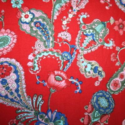 renee-d.de Onlineshop: Stenzo Cord Stoff rot Blumen Paisley