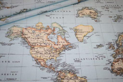 renee-d.de Onlineshop: Deko Baumwollstoff Welt Weltkarte