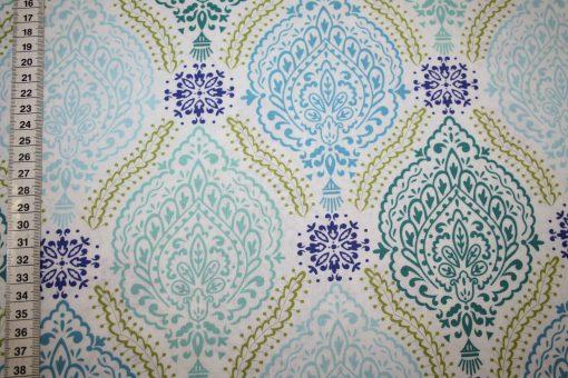 renee-d.de Onlineshop: Dena Baumwollstoff blau grün Ornamente