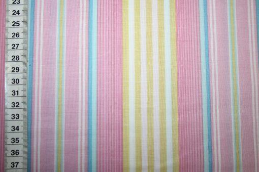 renee-d.de Onlineshop: Dena Baumwollstoff rosa bunt Streifen