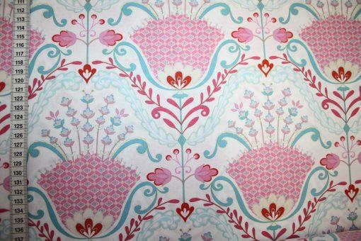 renee-d.de Onlineshop: Dena Baumwollstoff rosa große Blumen
