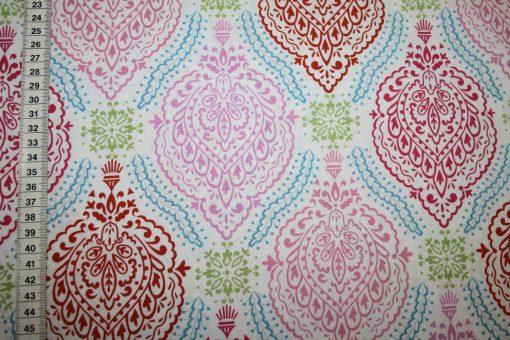renee-d.de Onlineshop: Dena Baumwollstoff rosa grün rot Ornamente