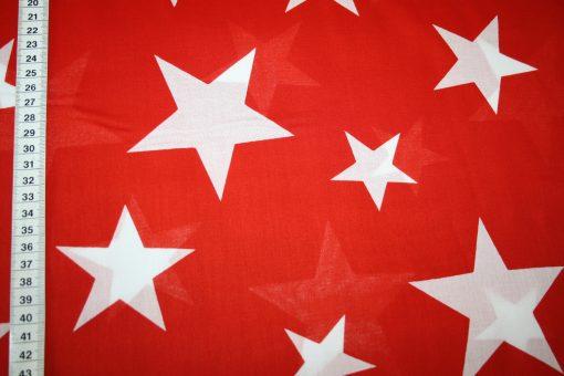 renee-d.de Onlineshop: Dünner Batist Baumwollstoff Sterne rot
