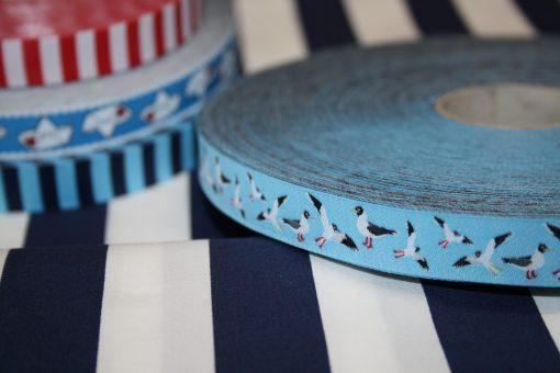 renee-d.de Onlineshop: Farbenmix Webband Möwen blau
