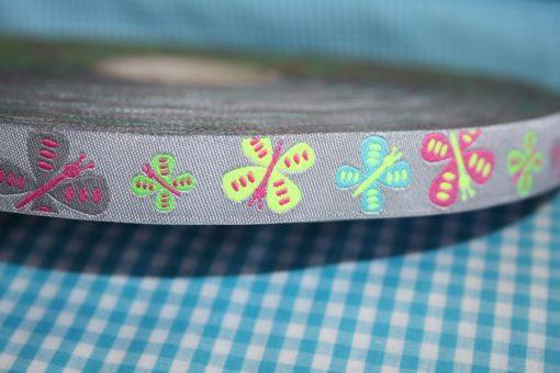 renee-d.de Onlineshop: Farbenmix Webband Schmetterlinge flatterlis grau