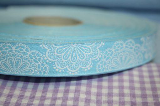 renee-d.de Onlineshop: Farbenmix Webband Spitzenwerk hellblau