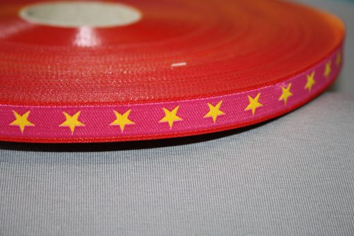 renee-d.de Onlineshop: Farbenmix Webband Sterne pink gelb