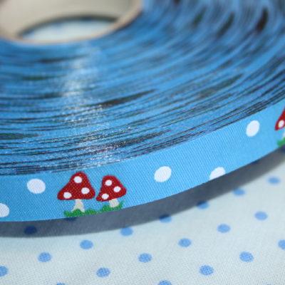 renee-d.de Onlineshop: Farbenmix webband blau Fliegenpilz