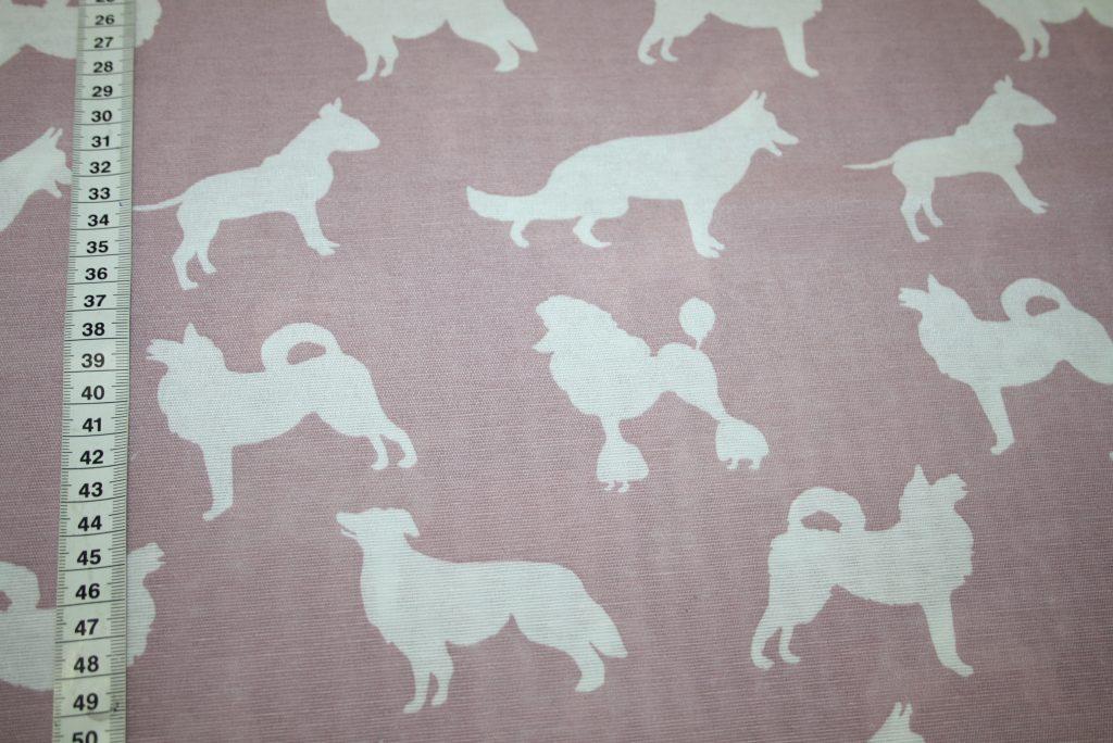 renee-d.de Onlineshop: Fester Deko Baumwollstoff Hunde altrosa