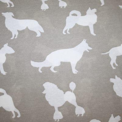 renee-d.de Onlineshop: Fester Deko Baumwollstoff Hunde beige braun