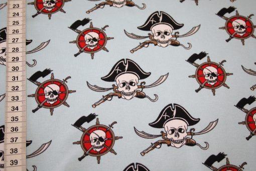 renee-d.de Onlineshop: French Terry dünner Sweatshirt Stoff rosblau Pirat