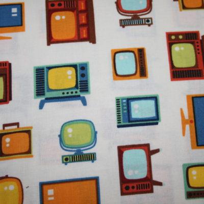 renee-d.de Onlineshop: Robert Kaufman Baumwollstoff Fernseher Retro