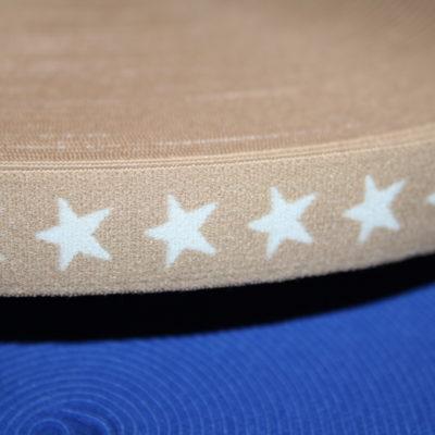 renee-d.de Onlineshop: Gummiband 2 cm breit beige mit Sternen