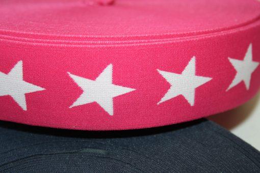 renee-d.de Onlineshop: Gummiband 4 cm breit pink Sterne weiß