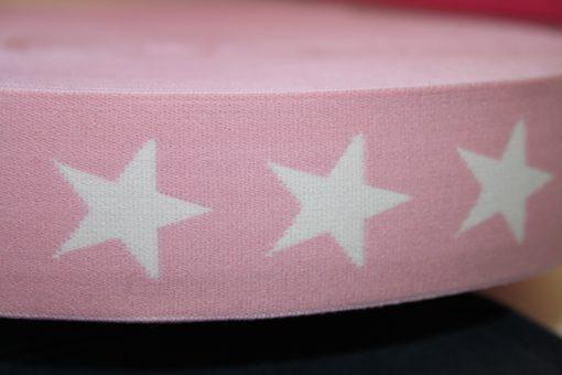 renee-d.de Onlineshop: Gummiband 4 cm breit rosa Sterne weiß