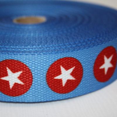 renee-d.de Onlineshop: Gurtband blau Punkte Sterne grau rot 3 cm
