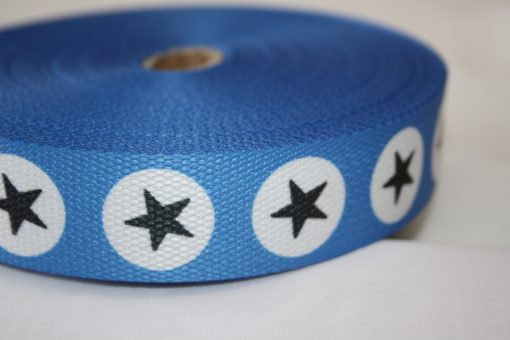 renee-d.de Onlineshop: Gurtband blau Punkte Sterne grau weiß 3 cm
