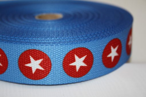 renee-d.de Onlineshop: Gurtband blau Punkte Sterne weiß rot 3 cm