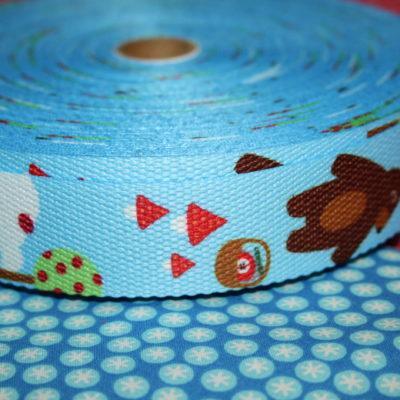 renee-d.de Onlineshop: Gurtband blau mit Bär 3 cm breit