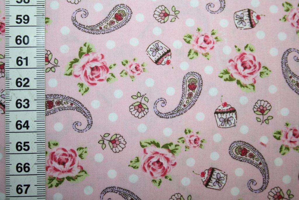 renee-d.de Onlineshop: Hilco Baumwollstoff Blumen Paisley rosa