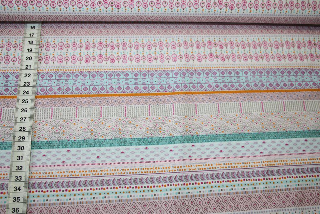 renee-d.de Onlineshop: Hilco Baumwollstoff rosa kleine Muster Streifen