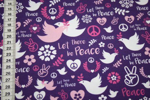 renee-d.de Onlineshop: Hilco Jersey Stoff Love Peace lila