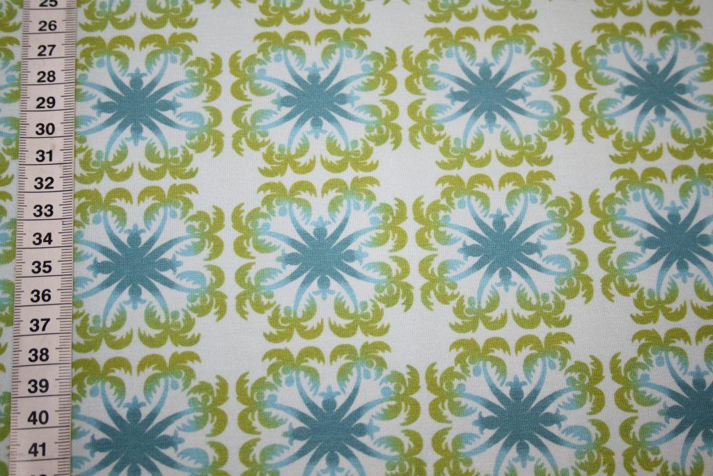 renee-d.de Onlineshop: Hilco Jersey Stoff Hawaii Blumen Palmen türkis