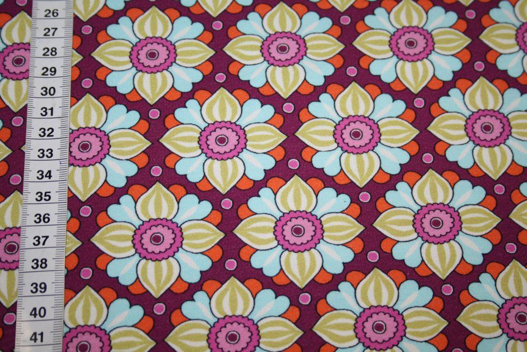 renee-d.de Onlineshop: Hilco dünner Sweat Jersey Stoff lila Blumen
