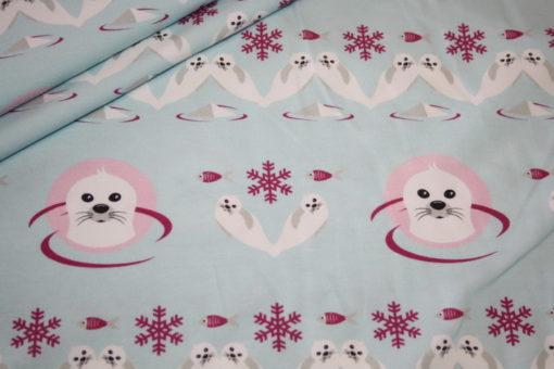 renee-d.de Onlineshop: HilcoJersey Stoff Arctic Seehund rosa