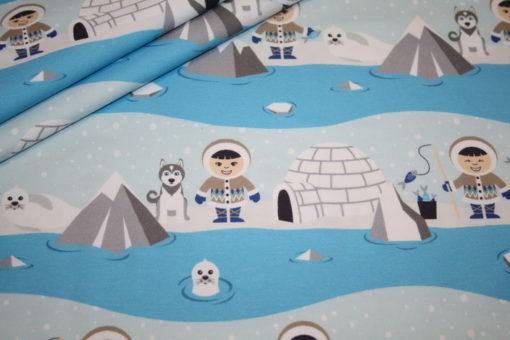 renee-d.de Onlineshop: Hilco Jersey Stoff Arctic Pattern Eskimo blau