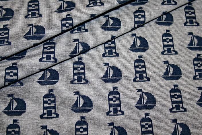 renee-d.de Swafing Jacquard Strick Jersey Stoff grau blau Totenkopf