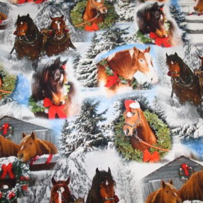 renee-d.de Onlineshop: Jersey Stoff Digitaldruck Weihnachten Pferde