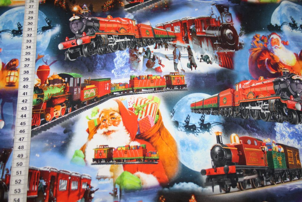 renee-d.de Onlineshop: Jersey Stoff Digitaldruck Weihnachten Zug