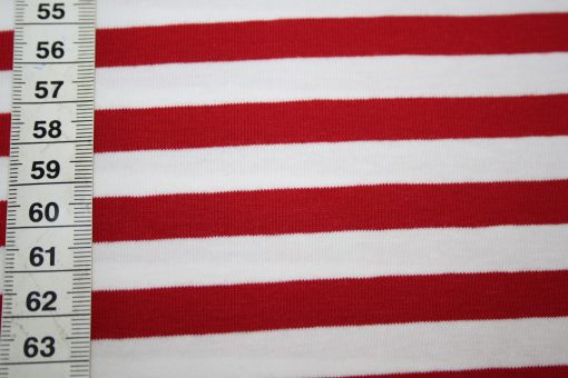 renee-d.de Onlineshop: Jersey Stoff rot weiß gestreift