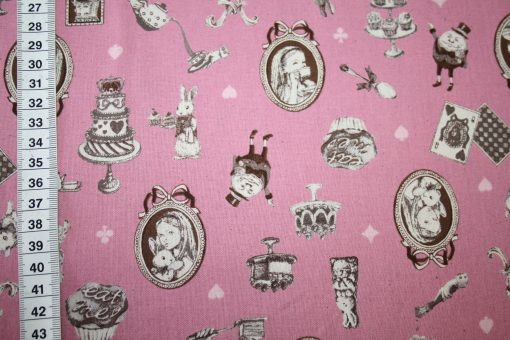 renee-d.de Onlineshop: Kokka Echino Baumwoll Leinen Stoff rosa Alice im Wunderland