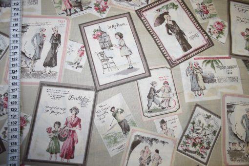 renee-d.de Onlineshop: Kokka Echino Baumwollstoff beige Bilder Nostalgisch